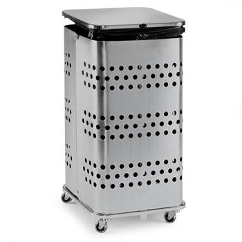 Refuse bag stand, with lid, 900x450x450 mm, 125 L, silver