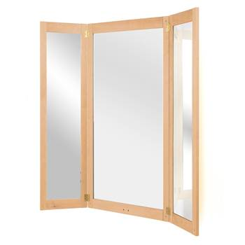 Full-length three-piece folding mirror, 670x1320 mm, beech