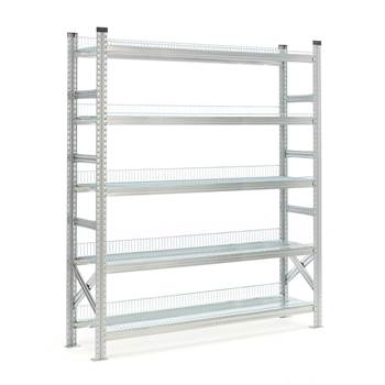 Galvanised storage shelving, basic unit, 5 shelves, 1972x1200x500 mm