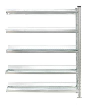 Galvanised storage shelving, add-on unit, 5 shelves, 1972x1200x400 mm