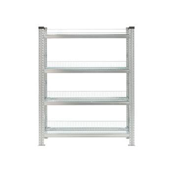Galvanised storage shelving, basic unit, 4 shelves, 1576x900x500 mm