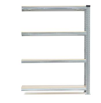 Galvanised storage shelving, add-on unit, 4 shelves, 1576x900x500 mm