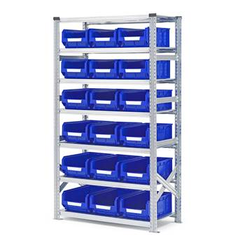 Shelving with small parts bins, basic unit, 1972x1050x500 mm + 18 x blue bi