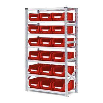 Shelving with small parts bins, basic unit, 1972x1050x500 mm + 18 x red bin