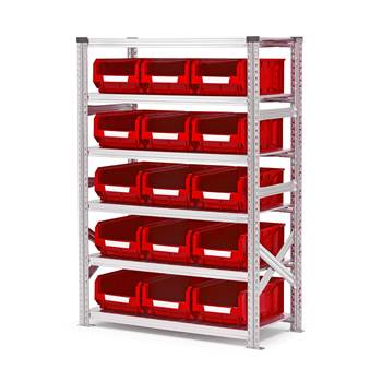 Shelving with small parts bins, basic unit, 1576x1050x500mm + 15 x red bins