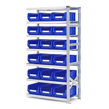 Shelving with small parts bins, add-on unit, 1972x1050x500 mm + 18 x blue b