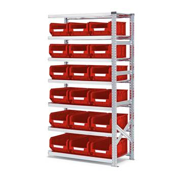Shelving with small parts bins, add-on unit, 1972x1050x500 mm + 18 x red bi
