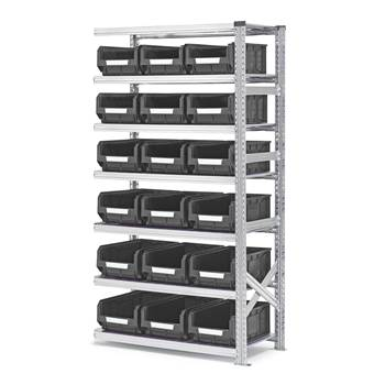 Shelving with small parts bins, add-on unit, 1972x1050x500 mm + 18 x grey b
