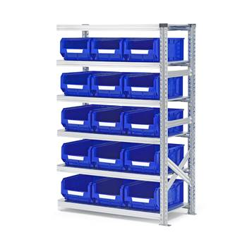 Shelving with small parts bins, add-on unit, 1576x1050x500mm + 15 x blue bi