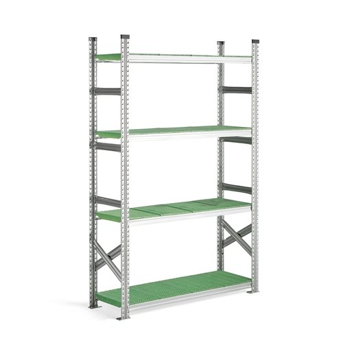 #en Basic section with plastic shelves H 1970 x W 1200 x D 400 mm. green