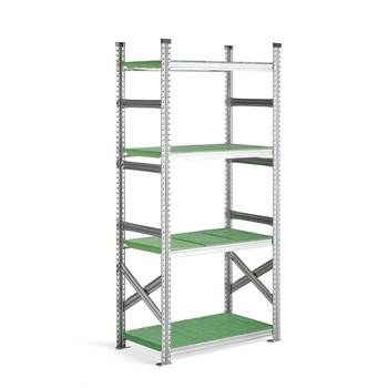 #en Basic section with plastic shelves H 1970 x W 900 x D 500 mm.green