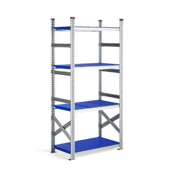 Moduł podstawowy regału 900x500x1972mm, Kolor półek: niebieski
