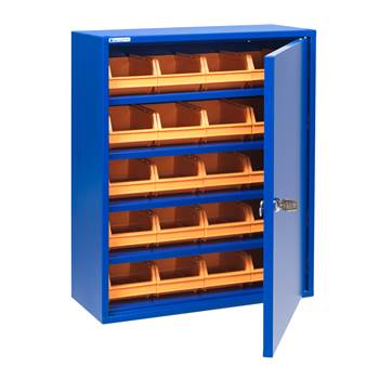 Small storage cabinet with bins, 580x470x205 mm, blue