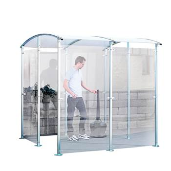 Plexiglass outdoor smoking shelter, 2200x2150x2150 mm