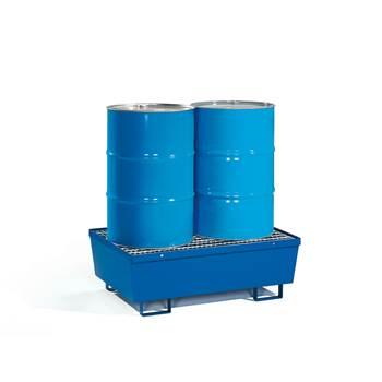 Fatpall for 2 stående fat, gitter, blå