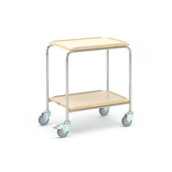 #en Table trolley 600x400mm 2 shelves, birch