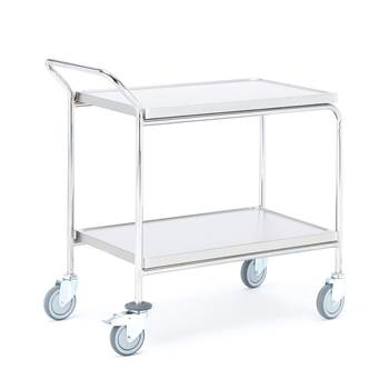 Stainless steel trolley, 2 shelves, 800x520x950 mm