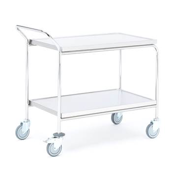 Stainless steel trolley, 2 shelves, 900x550x950 mm