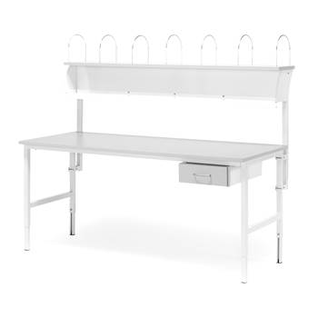 Worktable with 1 drawer + 1 top shelf, 800x1600 mm, grey