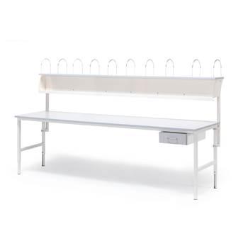 Pakke: Arbeidsbord, 2400x800 mm, 1 skuff + overhylle, grå