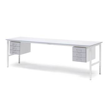 Worktable with 6 drawers, 800x2400 mm, grey