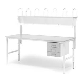 Paket: Arbetsbord, 1600x800 mm, 3 lådor + överhylla, grå