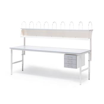 Worktable with 3 drawers + 1 top shelf, 800x2000 mm, grey