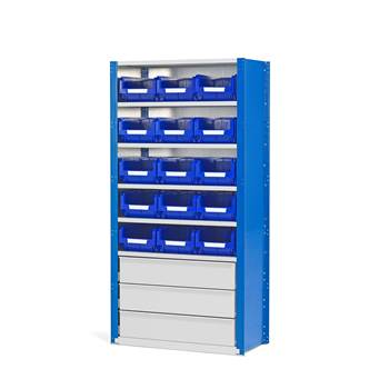 """""""Mix"""" shelving with drawers and storage bins"""