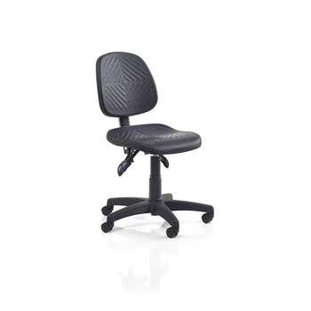Ergonomic industrial chair, wheels, no footrest, H 400-520 mm, black