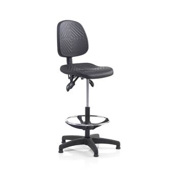 Ergonomic industrial chair, glide feet, footrest, H 560-810 mm, black