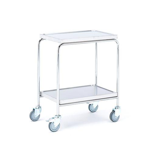 Työpöytä pyörillä, ruostumaton, 2 hyllytasoa, 600x400 mm
