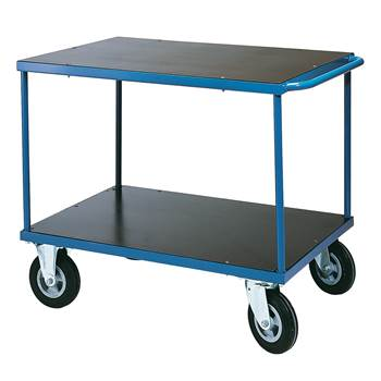 Platform trolley, 2 shelves, no brakes, SE wheels, 700x1000 mm