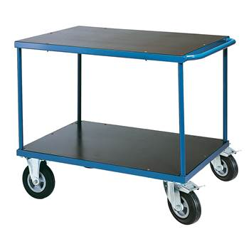 Platform trolley, 2 shelves, brakes, SE wheels, 700x1000 mm