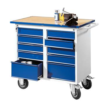Flex workbench, mobile, 10 drawers, 1100x595x900 mm