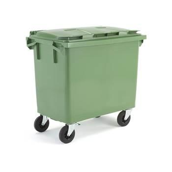 Zielony kontener na odpadki o poj.660 l - 1255x770x1210mm