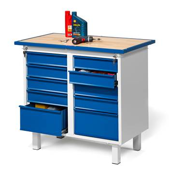 Flex workbench, static, 10 drawers, 990x595x900 mm