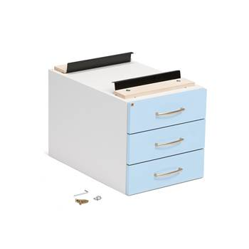 Drawer unit, 3 drawers, 400x400x600 mm, blue
