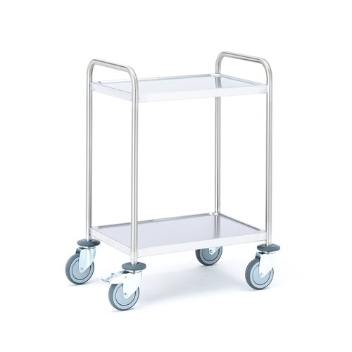 Wózek ze stali nierdzewnej z 2 półkami