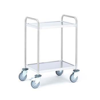 Stainless shelf trolley, 100 kg load, 2 shelves, 600x400x900 mm