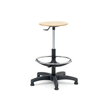 Wooden workshop stool, H 530-780 mm