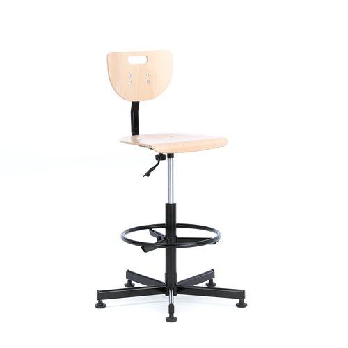 Krzesło warsztatowe bukowe wysokość 555-815mm