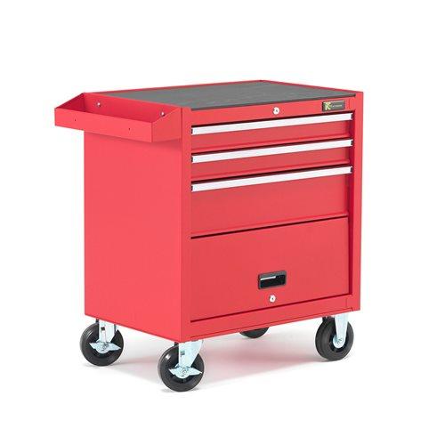 Työkaluvaunu, 3 laatikkoa, punainen