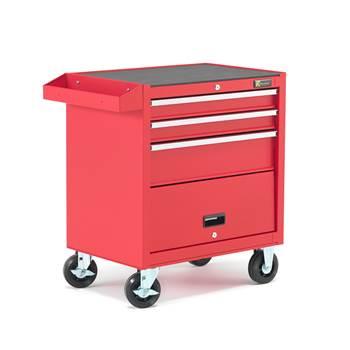 Verktygsvagn, 3 lådor, röd