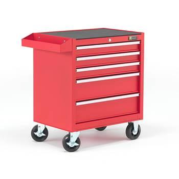 Verktygsvagn, 5 lådor, röd
