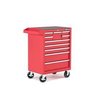 Työkaluvaunu, 10 laatikkoa, punainen