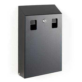 Wall mounted cigarette bin, 370x220x65 mm