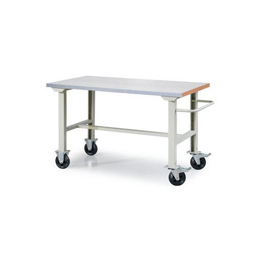 Mobilny stół warsztatowy, Blat:, Stal, Długość:1500