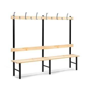 Stabil single bench, hook rail, 2000x400x1600 mm