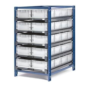 Industrireol 5 hylleplater, 150 kg, inkl. 40 bokser, 100% utdrag