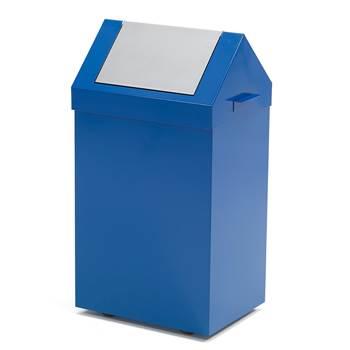 Avfallsbeholder med vippelokk, 70 liter, blå
